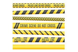 Police Line Set. Vector