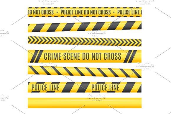 Police Line Set. Vector - Illustrations