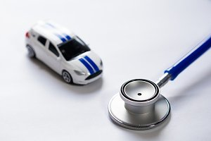 Stethoscope with car (Selective Focus) Diagnosis and repair of vehicles concept