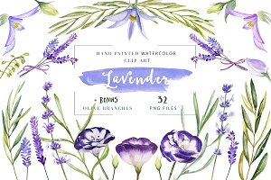 Lavender and Olive Watercolor Set
