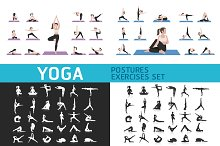 Yoga Postures Exercises Icons Set.