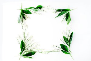 Floral frame with lily of the valley