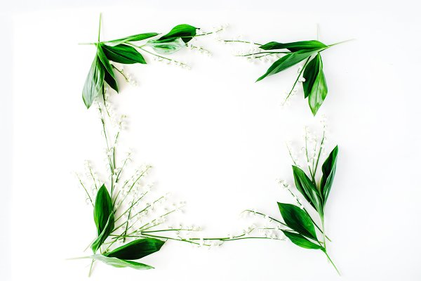Floral frame with lily of the valle…