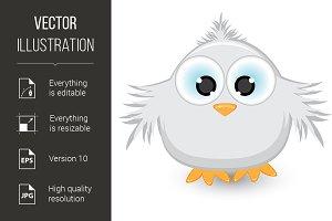 Cartoon gray sparrow