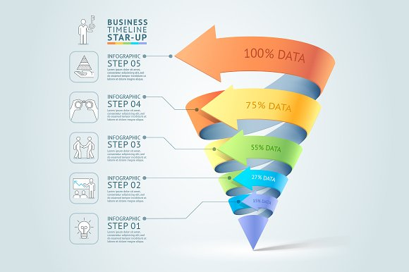 3d business cone staircase template presentation templates