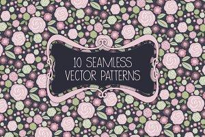Seamless rose & shabby chic patterns
