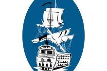 Galleon Sailing Ship At Sea