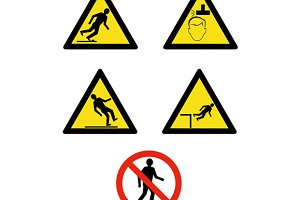 Workplace Sign Slippery Falling