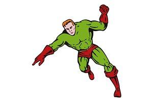 Cartoon Super Hero Running