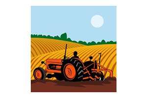 Vintage Tractor With Farmer
