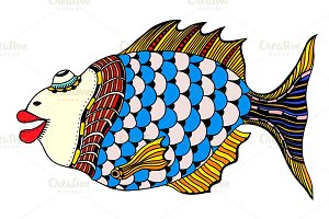 Stylized Hand Drawn Fish