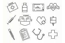 Medical. 12 icons. Vector