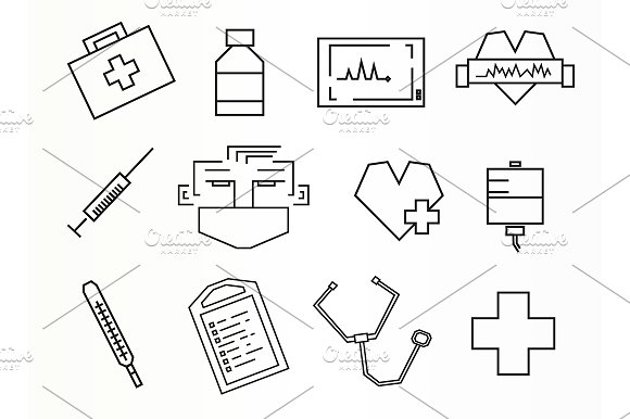 Medical. 12 icons. Vector - Icons