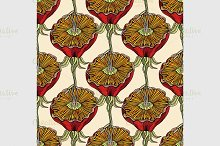 pattern with hand drawn flowers