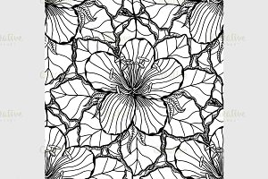 Monochrome Floral Background.