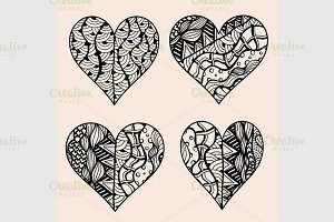 Hand drawn set of black hearts