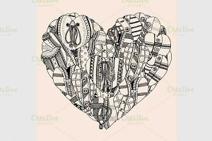 Heart of small hand drawn hearts