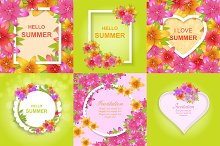 Set of floral greeting backgrounds