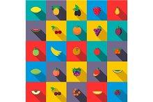 Fresh fruits set icons