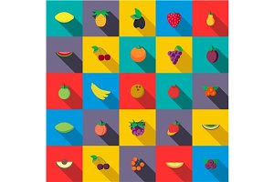 Fresh fruits set icons