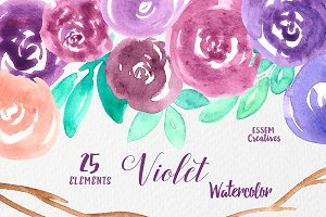 Purple Watercolor Floral Clipart