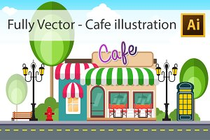 Cafe Illustration - Fully Vector