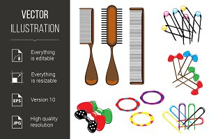 Three types of combs and a variety o