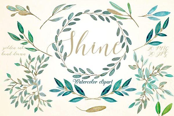 Shine gold leaves Watercolor clipar…