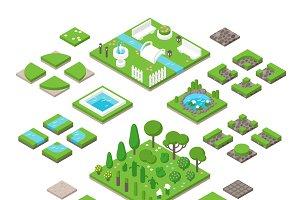Landscaping isometric 3d garden