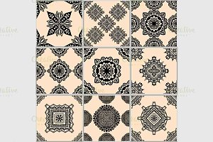 Black and beige geometric tiles