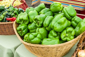 Basket of fresh green peppers