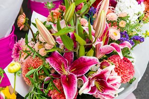 Bouquet of flowers with lilies