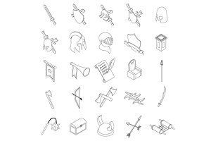 Medieval knights icons set