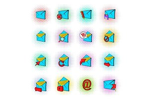 Mail icons set, pop-art style
