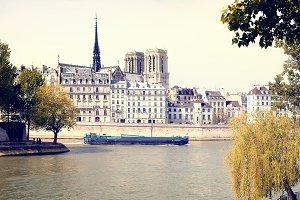 Barge on the Seine. Paris