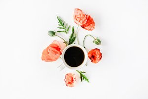 Poppies and coffee mug