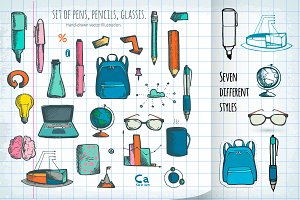 School set. Hand-drawn illustration.