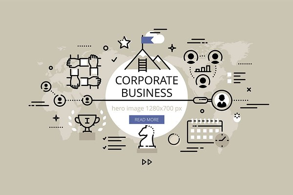 Corporate business hero banners set