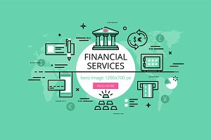 Financial services hero banners set