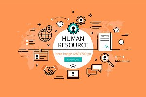 Human resource hero banners set