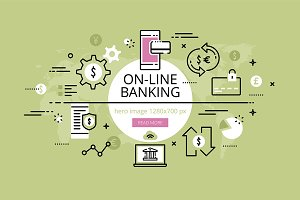 On-line banking hero banners set