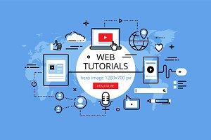 Web tutorials hero banners set
