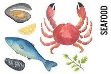 Seafood Watercolor Clipart