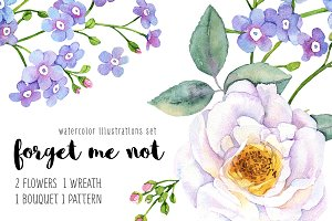 Forget me not watercolor set