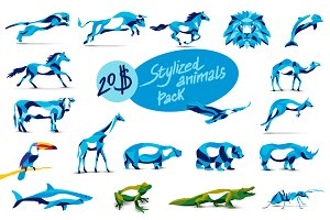 19 in 1 Set of stylized animals