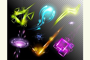 Vector Glowing Light Effect set