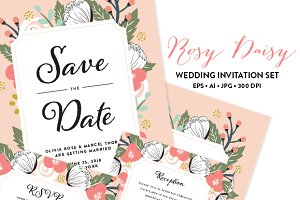 Rosy Wedding Invitation EPS & JPG