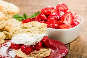 Biscuits and strawberries