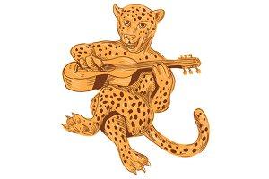 Jaguar Playing Guitar Drawing