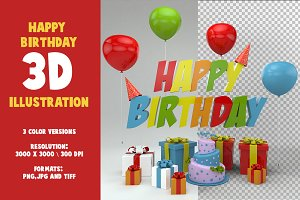3 Happy Birthday 3D Illustrations